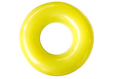 Colorful swim ring on white background. The swim ring was derived from the inner tube, the inner, enclosed, inflatable part of older vehicle tires Royalty Free Stock Photo