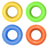 Colorful swim rings isolated on white stock image