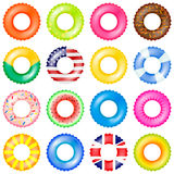 Colorful swim rings vector set. 3d realistic life buoy collection with american and UK flag, chocolate doughnut. Watermelon isolated vector illustration Royalty Free Stock Photos