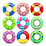Colorful swim rings vector set Royalty Free Stock Photos