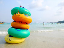 Colorful swimming rings Royalty Free Stock Photography