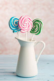Colorful swirl lollipop Royalty Free Stock Images