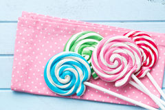 Colorful swirl lollipop. Top view of colorful swirl lollipop Royalty Free Stock Image