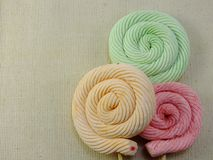 Colorful swirl mashmellow sweet candy with space background Royalty Free Stock Photos