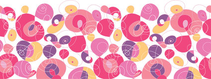 Colorful swirl shapes horizontal seamless pattern Stock Photo