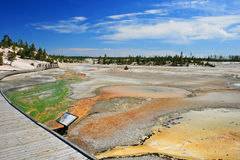 Colorful swirling hot springs at Yellowstone national park Royalty Free Stock Image