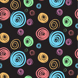 Colorful swirls on black pattern. Colorful swirls on a black background pattern royalty free illustration