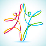 Colorful swirly figures dancing. Colorful swirly line figures dancing vector Stock Images