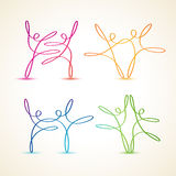 Colorful swirly line dancing figures. Set Royalty Free Stock Photography