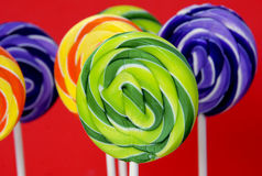 Colorful swirly lollipops Royalty Free Stock Photography