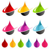 Colorful Swoosh Raindrop Icons. Vector set of colorful raindrop icons with swoosh graphic element stock illustration