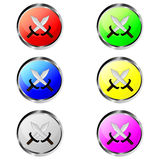 Colorful swords buttons Stock Photos