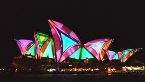 Colorful sydney opera house stock video