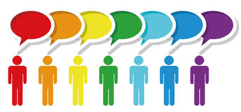 Colorful Symbol People in Media Social Network. Vector illustration of group speak. Social network media people talk together in communication speech bubbles Stock Images