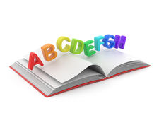 Colorful symbols of alphabet on book 3D. Education concept.  on white Royalty Free Stock Images