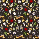 Colorful symbols for Dia de Los muertos day of the Dead Day vector seamless pattern background. Colorful set of icons for dia de los muertos. Day of the dead and Royalty Free Stock Image