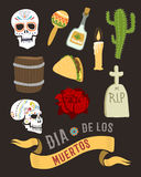 Colorful symbols for dia de los muertos day of the dead vector. Colorful set of characters for dia de los muertos. Day of the dead and halloween. Skull catrina Stock Images