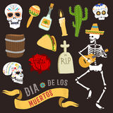 Colorful symbols for dia de los muertos day of the dead vector. Stock Images