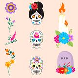 Colorful symbols Dia De Los muertos holiday day of the dead vector. Stock Photos