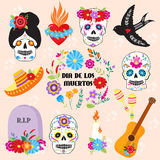 Colorful symbols Dia De Los muertos holiday day of the dead vector. Colorful set of icons for dia de los muertos. Day of the dead and halloween. Skull catrina stock illustration