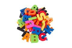 Colorful symbols heap of alphabet. Education concept. Stock Images