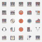 Colorful synthesizer icons Royalty Free Stock Photography