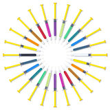Colorful Syringes Circle Set Royalty Free Stock Photography