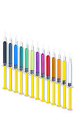 Colorful Syringes Down Set Royalty Free Stock Photo