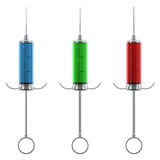 Colorful syringes models set. Render set of a retro stylized syringes filled with colorful substances  on white. Front view. Part of a doctor's equipment Royalty Free Stock Photo