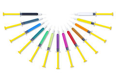Colorful Syringes Round Set Stock Photo