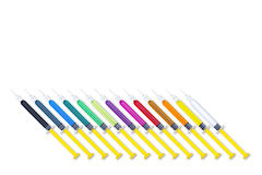 Colorful Syringes Tilt Set Royalty Free Stock Image