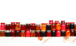 Colorful syrup jars Stock Photo