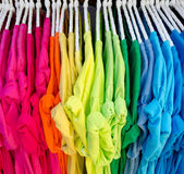 Colorful t-shirt on hangers Stock Photography