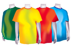 Colorful T-Shirts. A bunch of colorful t-shirts isolated on white Stock Photos