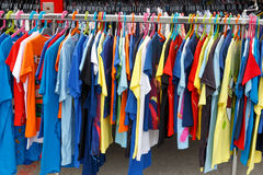 Colorful t-shirts in fashion sales Royalty Free Stock Photography