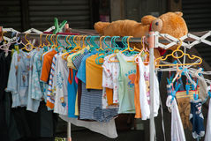 Colorful T-shirts hanging Stock Image
