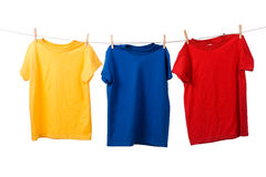Colorful T-Shirts On White Stock Photo