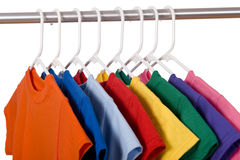 Colorful T-Shirts on White Royalty Free Stock Photos