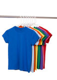 Colorful T-Shirts on White Royalty Free Stock Images