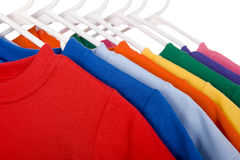 Colorful T-Shirts on White Royalty Free Stock Photography