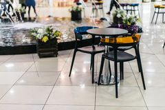 Colorful table and chairs stock photography