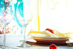 Colorful Table served for festive dinner. Close up view Royalty Free Stock Image