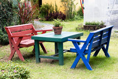 Colorful of table sets Royalty Free Stock Photos