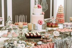 Colorful table with sweets for the wedding Stock Images