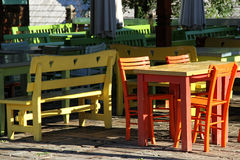 Colorful tables and chairs Royalty Free Stock Photos