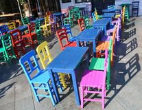 Colorful Tables and Chairs royalty free stock image