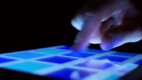 Colorful tablet computer touchscreen and swiping finger stock footage