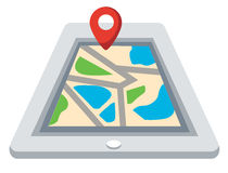 Colorful tablet with navigation map vector Royalty Free Stock Image