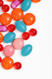 Colorful tablets and capsules. Milticolor pills and capsules on white background Stock Photos