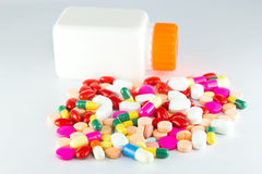Colorful tablets with capsules Royalty Free Stock Images